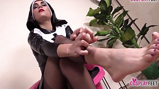 Titillating Nurse And Hot Nun Barefoot And In Stockings Feet Portray