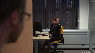 Fine office lady seems alright in all directions fucking plus sucking some dick