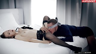 Blind folded man licks his spread out and fucks her in unbelievable modes