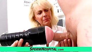 Blonde lady doctor Koko old back young CFNM exam and handjob