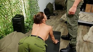 Hardcore butt fucking in the army ends with regard to a facial for Alexis Fawx