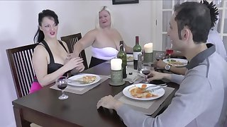 FFM amateur threesome with chubby babes Lacey Starr and Devon Breeze