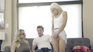 Sharing a weak-minded cock pleases both Elsa Jean and hot Alix Lynx
