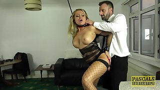 Screaming light-complexioned roughly fucked in BDSM home porn