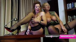 Office lesbians Lynda Leigh & Leigh Darby hither lingerie and heels