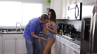 Lodging porn with stepdad after he sucks some tit