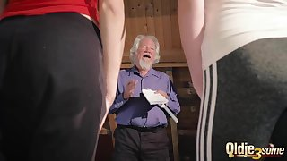 Kiara and Mia both fuck an old man and share his cum after a