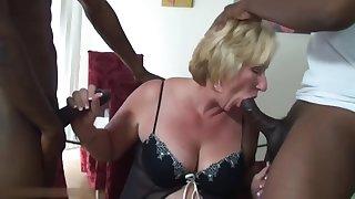 mature blonde suck 2 black cocks