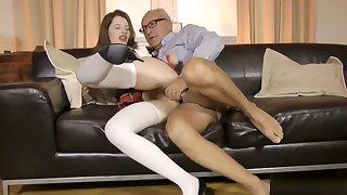 Euro schoolgirl bouncing on old man dick