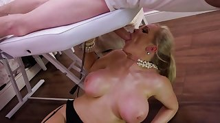 Blonde milf roughly fucked on the massage table