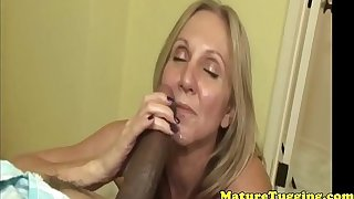 Busty tugging mature playing with a bbc pov