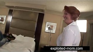 Old housewife fucking her black lover in Interracial Video