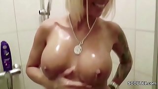 German Big Tit MILF Caught in Shower and Seduce to Fuck