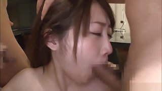 Superb diva Ikushima Ryou loves licking two dicks