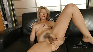 Housewife Coochie Beyond everything Leather Couch - blond hair lady
