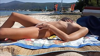 Real inferior wife naked in public beach