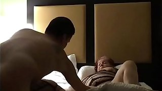 Having fun with my wife and my side in a hotel