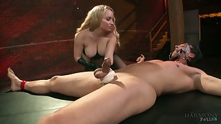 Medial busty blonde whore Aiden Starr rides dick of crucified man