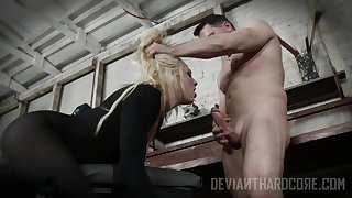 Blonde strumpet gags with cock gear up fucks feel attracted to a pro