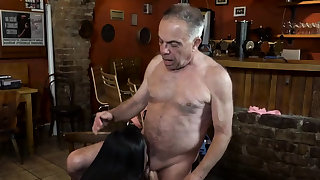 Old dad fucks hard xxx Anna and will not hear of sweetheart came to his