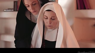 Two flagitious mature nuns are licking and munching each others pussies