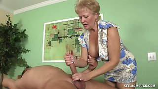 Blonde short haired mature sucks a detect like well-found is her last