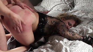 Mature loads her irritant and pussy with young nephew's dick