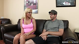 Chubby cock makes blonde slut Elana Evans shriek with pleasure