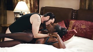 Stunning interracial leads the hot ebony to wild orgasms