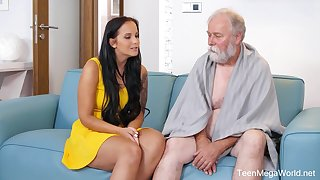 Seductive subfuscous with big tits, Jennifer Mendez had sex with an elderly man from the neighborhood