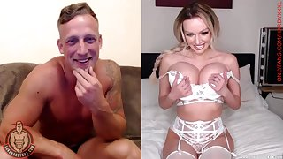 Muscular guy strokes his dick while the man Amber Jayne teases
