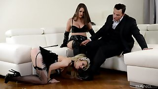 Strap-on fun at near hardcore FFM threesome more Chessie Kay together with Linda J.