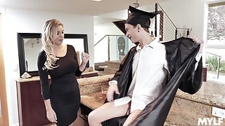 MILF stepmom fucks a college graduate and that woman is so damn admirable