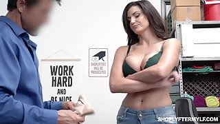 Bosomy shoplifting milf Becky Bandini gets punished apt on the table