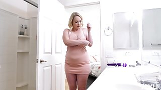 Chubby stepmom with a vibrator occupied the bathroom for a long time