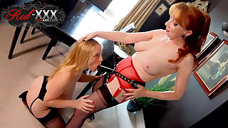 Mature Red XXX fucks her girlfriend Lucy with a strapon