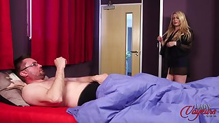 Nice tits mature Penny Lee takes off her clothes to make him hard