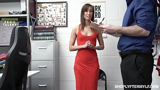 Security guy punishes slender tall unladylike Christy Love